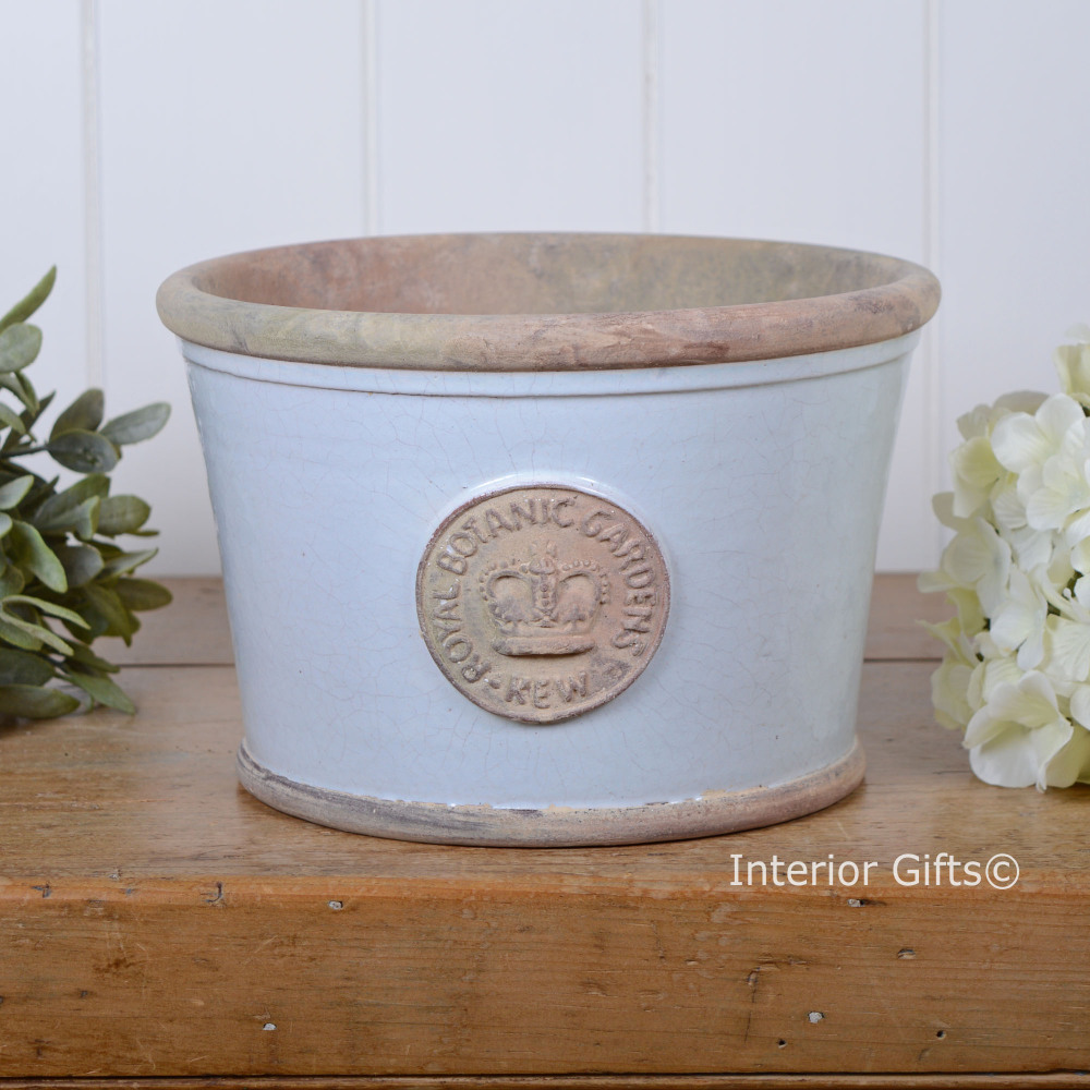 Kew Low Planter Pot in Duck Egg Blue - Royal Botanic Gardens Plant Pot - Me