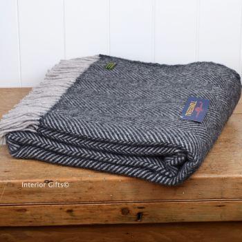 Tweedmill Charcoal & Silver Herringbone Pure New Wool Throw Blanket