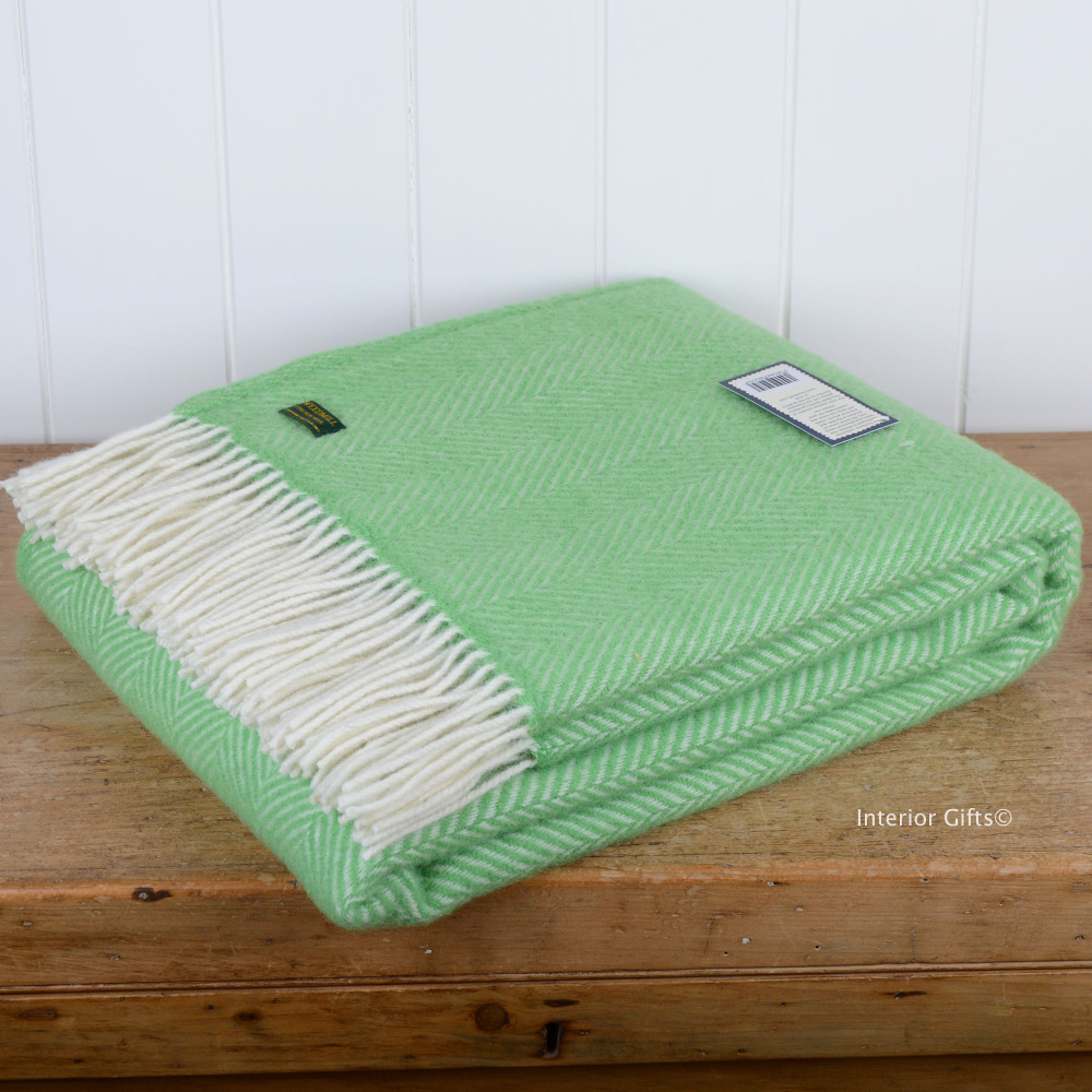Tweedmill Spring Green Herringbone / Fishbone Pure New Wool Throw