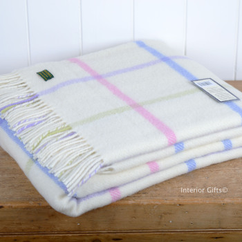 Tweedmill Cream & Soft Pastel Windowpane Throw Blanket Pure New Wool