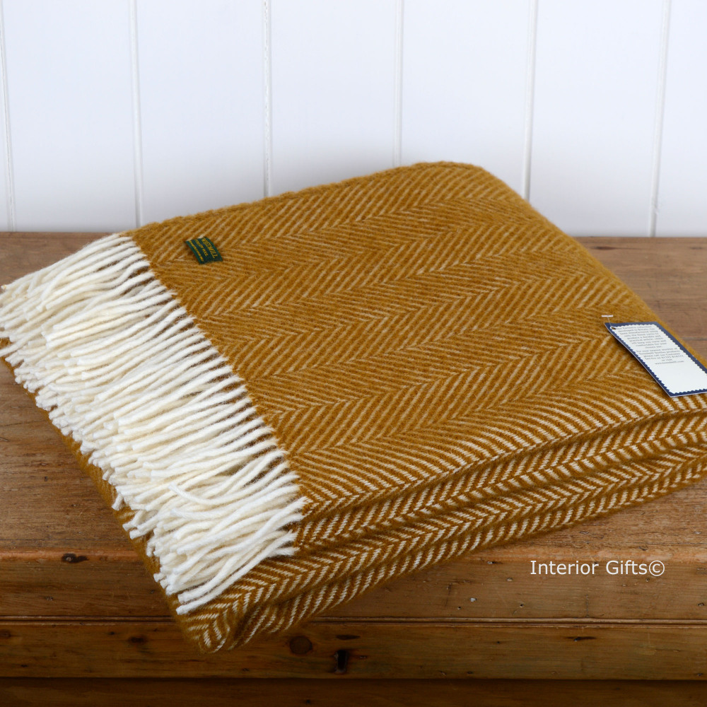 Tweedmill Mustard Antique Gold Fishbone / Herringbone Pure New Wool Throw
