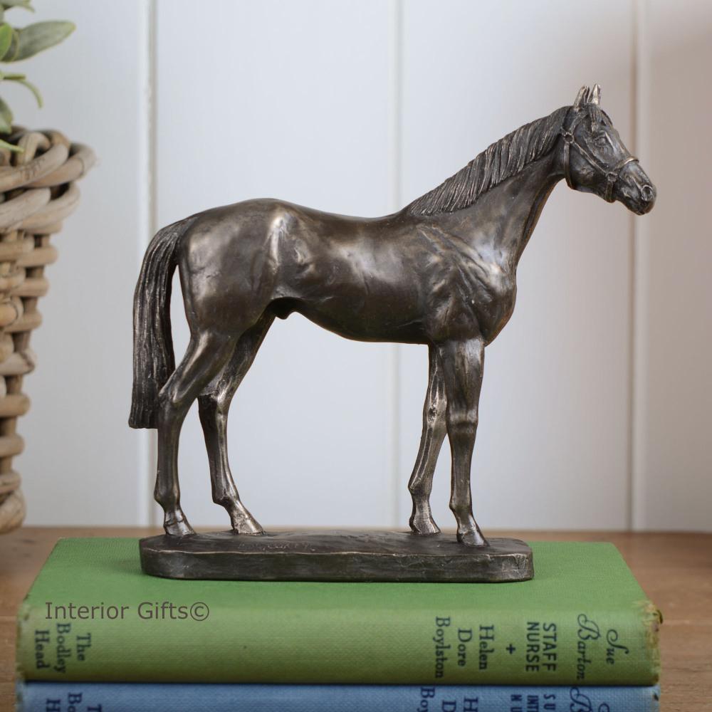 Thoroughbred Horse Head Cold Cast Bronze Sculpture Figurine By David Geenty.