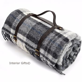 WATERPROOF Backed Wool Picnic Rug / Blanket in Country Grey Check with Leather Carry Strap