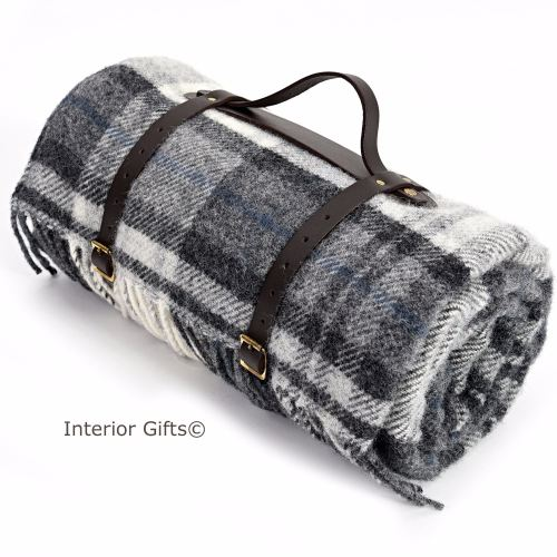 Classic Country Grey Check Waterproof Backed Wool Picnic Blanket or Rug wit