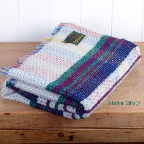 100% Wool 'Eco-friendly' Throw / Blanket / Picnic Rug in Check Stripe Multi