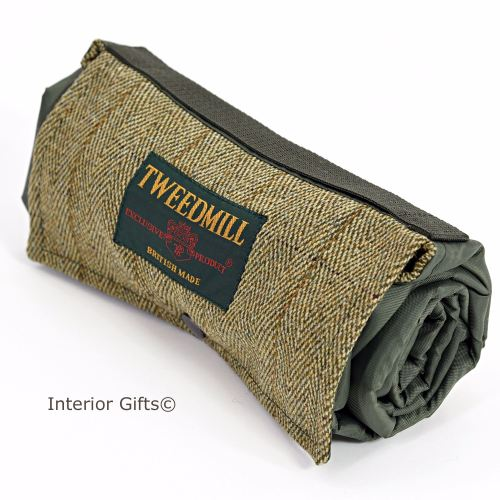 WATERPROOF Backed Picnic Rug COMPACT WALKER Herringbone Tweed Small