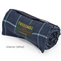 WATERPROOF Backed Picnic Rug COMPACT WALKER Country Blue Wool Tweed Small