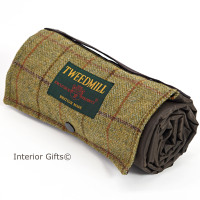 WATERPROOF Backed Picnic Rug COMPACT WALKER Country Check Wool Tweed Small