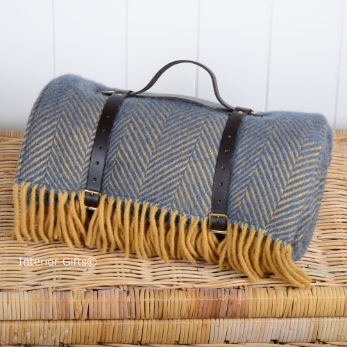 Waterproof Backed Wool Picnic Rug Blanket In Clic Navy Lemon Herringbone With Leather Carry Strap