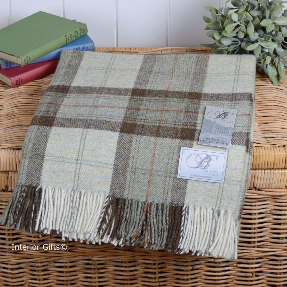 BRONTE by Moon Skye Check Sage Green Throw in 100% Shetland Pure New Wool