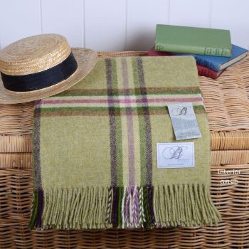 BRONTE by Moon Lime Dales Green Throw in 100% Shetland Pure New Wool