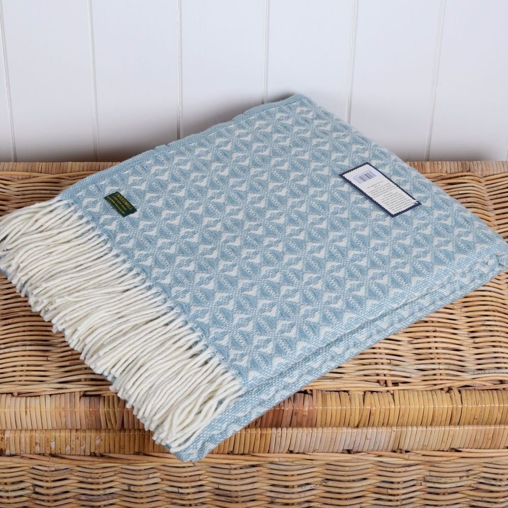 Tweedmill Blue Duck Egg Cobweave Throw in Pure New Wool with cream fringe.