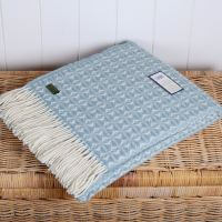 Tweedmill Duck Egg Blue & Cream Throw Blanket Pure New Wool