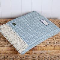 Tweedmill Duck Egg Blue & Cream Throw Blanket Pure New Wool