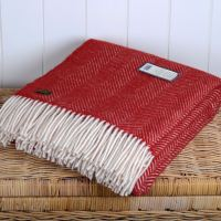 Tweedmill Red & Cream Herringbone Pure New Wool Throw Blanket