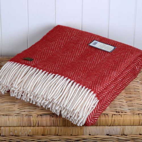 Tweedmill Red Fishbone  / Herringbone Pure New Wool Throw