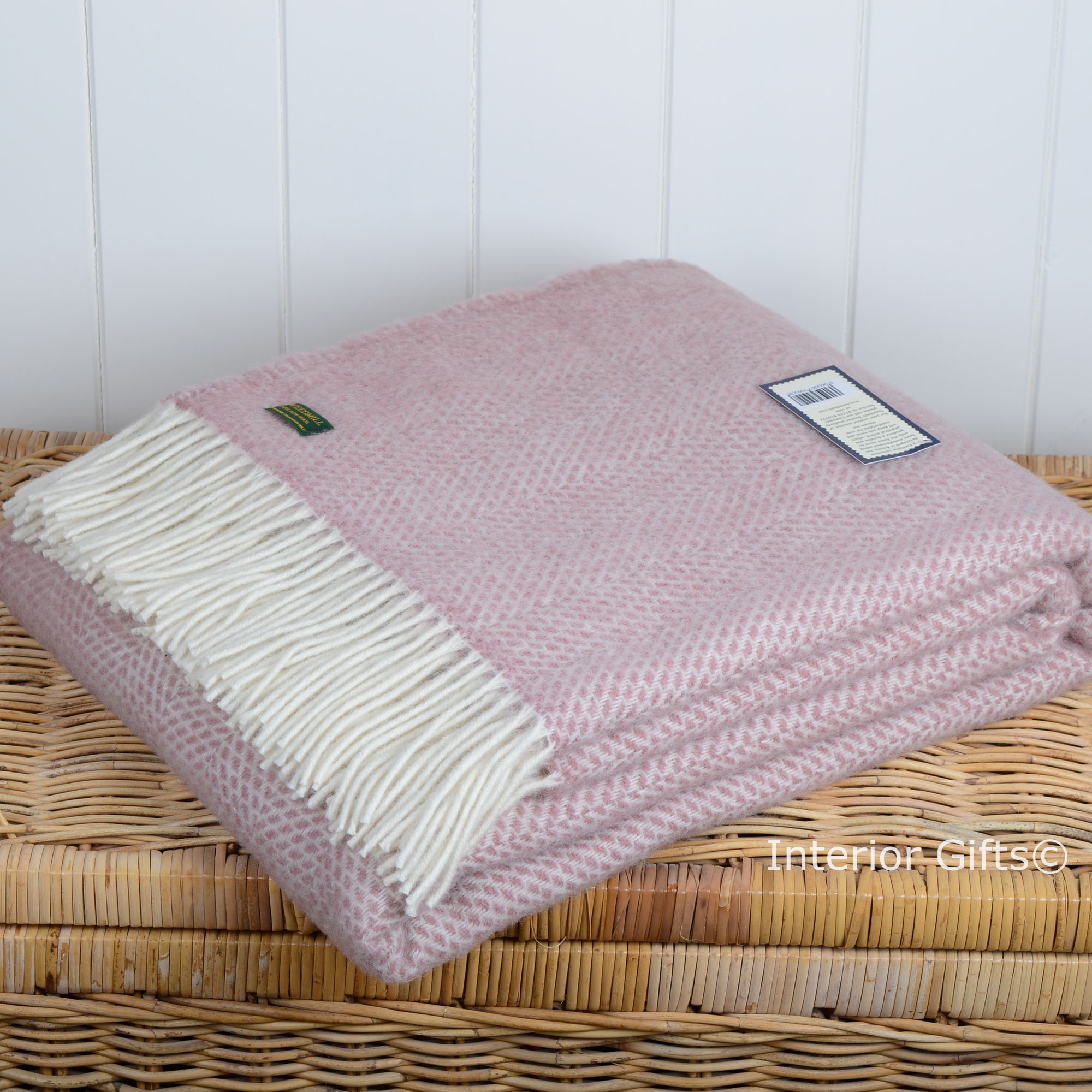 Tweedmill Wool Throw or Blanket Dusky Pink