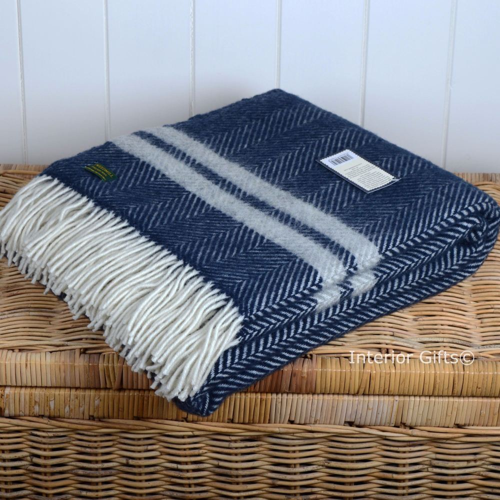 Tweedmill Navy Blue & Silvery Grey Fishbone Two-Stripe Pure New Wool Throw