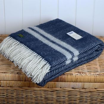 Tweedmill Navy Blue & Silver Grey Herringbone Stripe Pure New Wool Throw Blanket