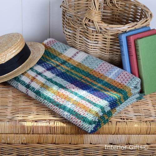 100% Wool 'Eco-friendly' Throw / Blanket / Picnic Rug in Check Stripe Green