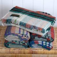 Woollen Recycled Throw / Blanket / Picnic Rug in Random Heather Colours