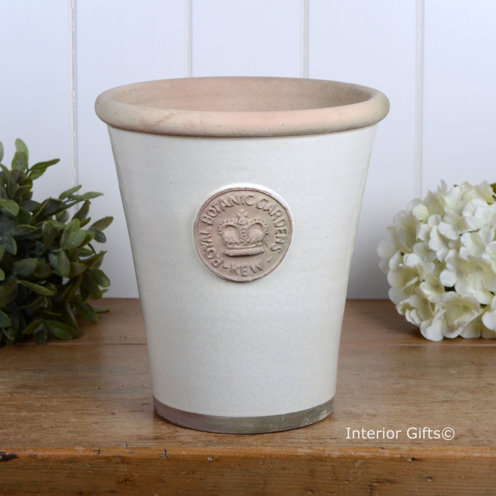 Kew Long Tom Pot in Ivory Cream - Royal Botanic Gardens Plant Pot - Large