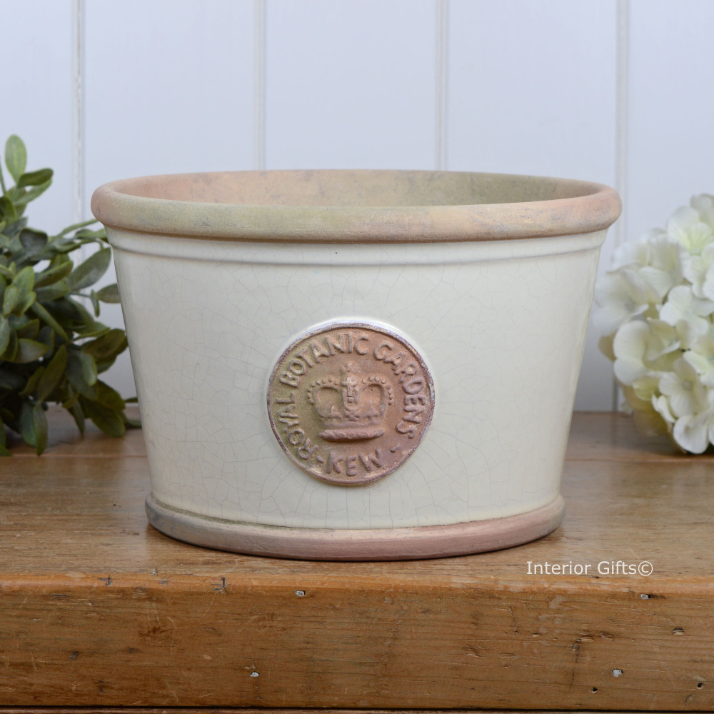 Kew Low Planter Pot in Ivory Cream - Royal Botanic Gardens Plant Pot - Medi