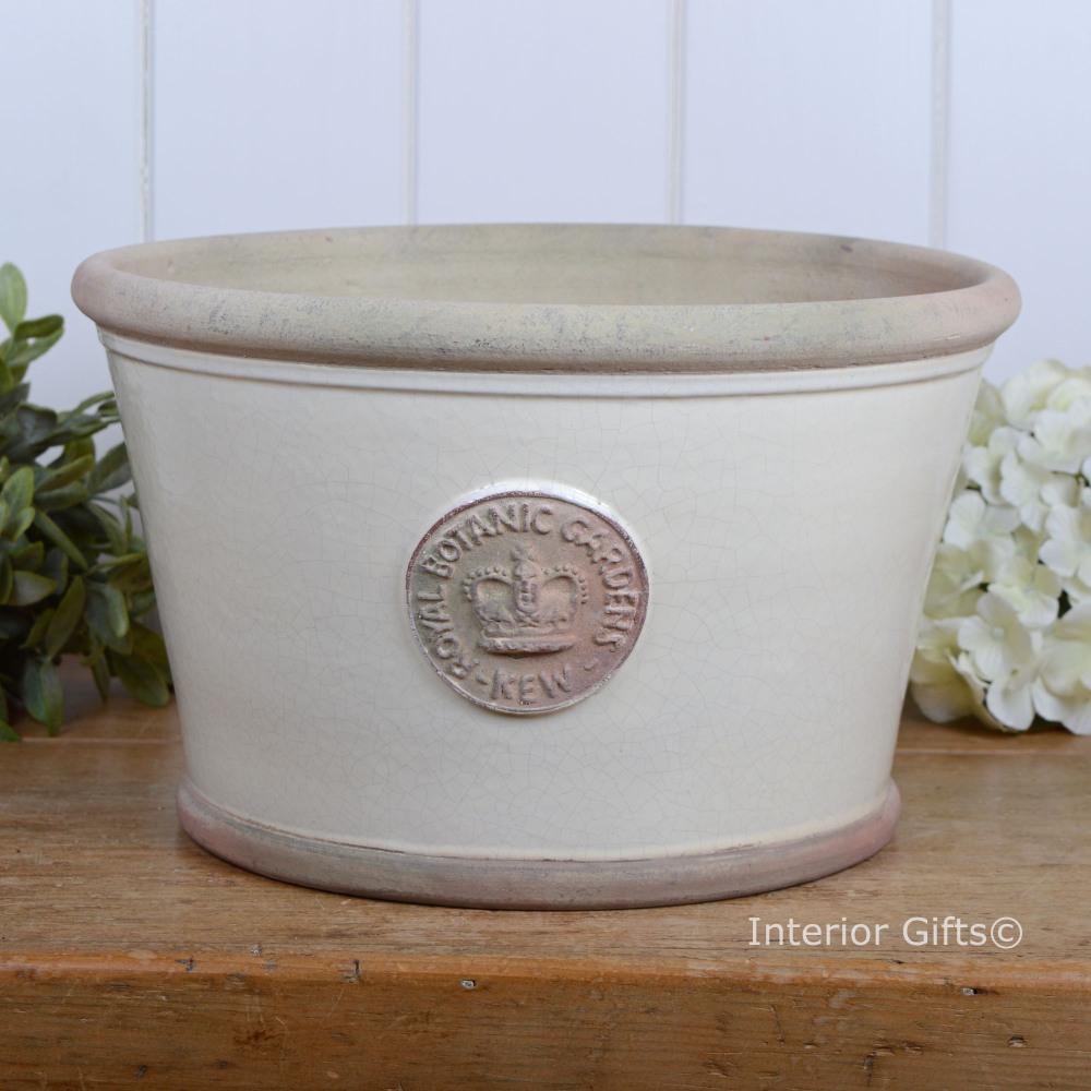 Kew Low Planter Pot in Ivory Cream - Royal Botanic Gardens Plant Pot - Larg