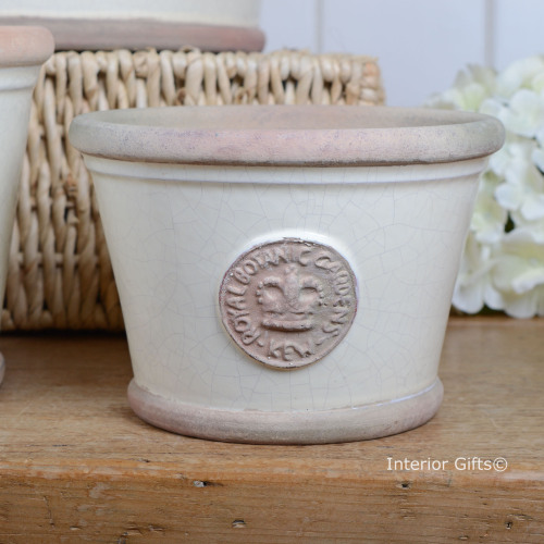 Kew Low Planter Pot in Ivory Cream - Royal Botanic Gardens Plant Pot - Smal