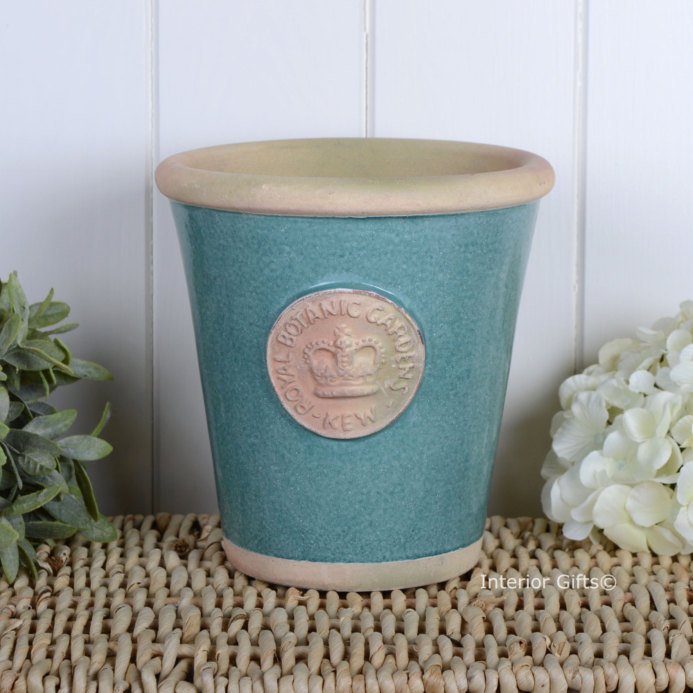 Kew Long Tom Pot in Turquoise - Royal Botanic Gardens Plant Pot - Medium