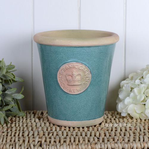 Kew Long Tom Pot in Turquoise - Royal Botanic Gardens Plant Pot - Medium