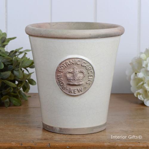 Kew Long Tom Pot in Ivory Cream - Royal Botanic Gardens Plant Pot - Medium
