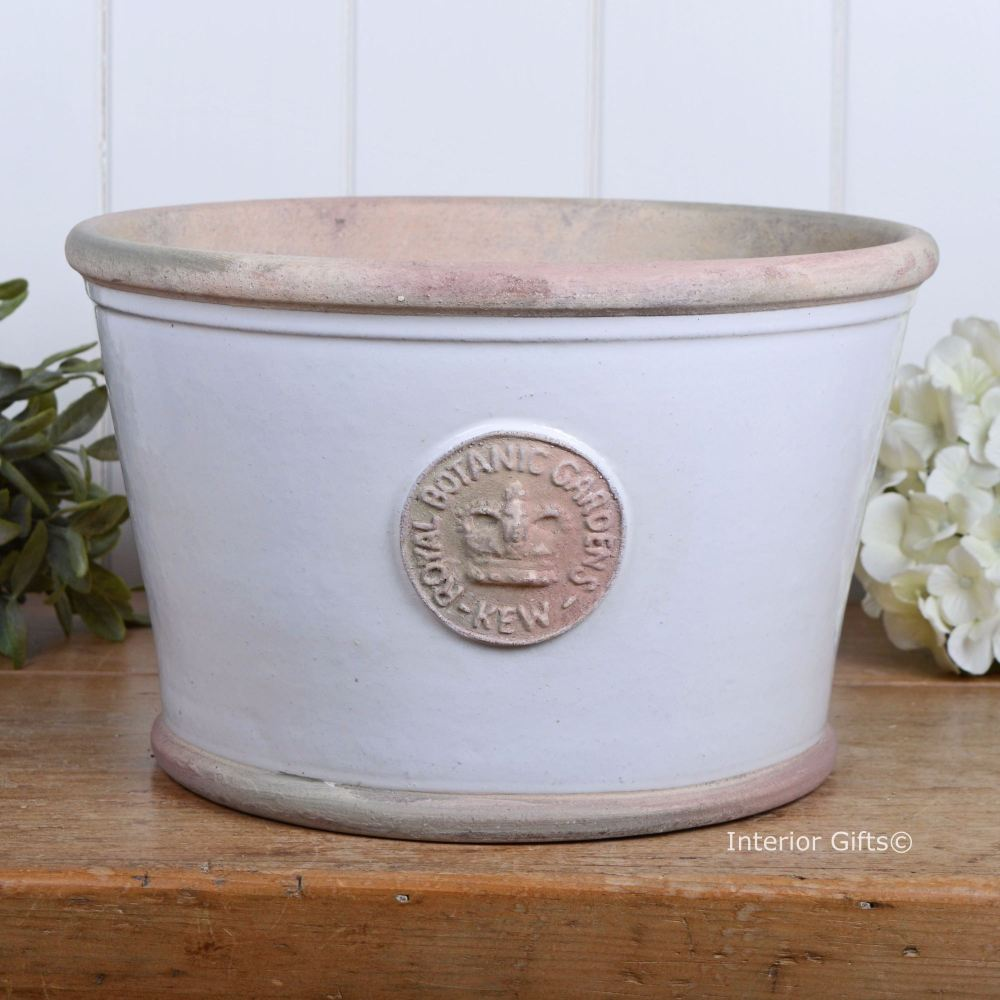Kew Low Planter Pot in Bone - Royal Botanic Gardens Plant Pot - Large