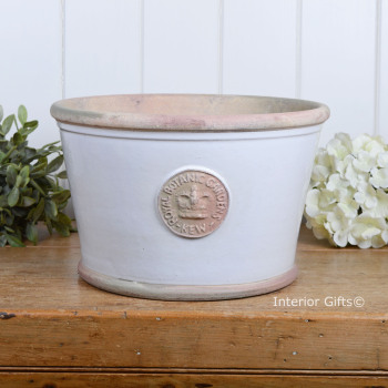 Kew Low Planter Pot Bone - Royal Botanic Gardens Plant Pot - Medium