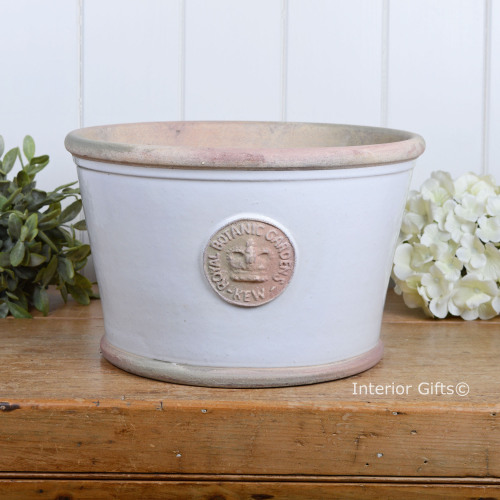 Kew Low Planter Pot in Bone - Royal Botanic Gardens Plant Pot - Medium