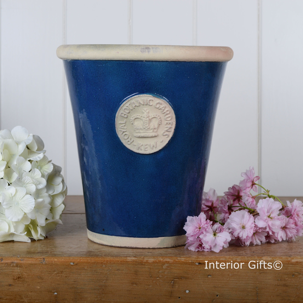 Kew Long Tom Pot in Indogo Blue - Royal Botanic Gardens Plant Pot - Large