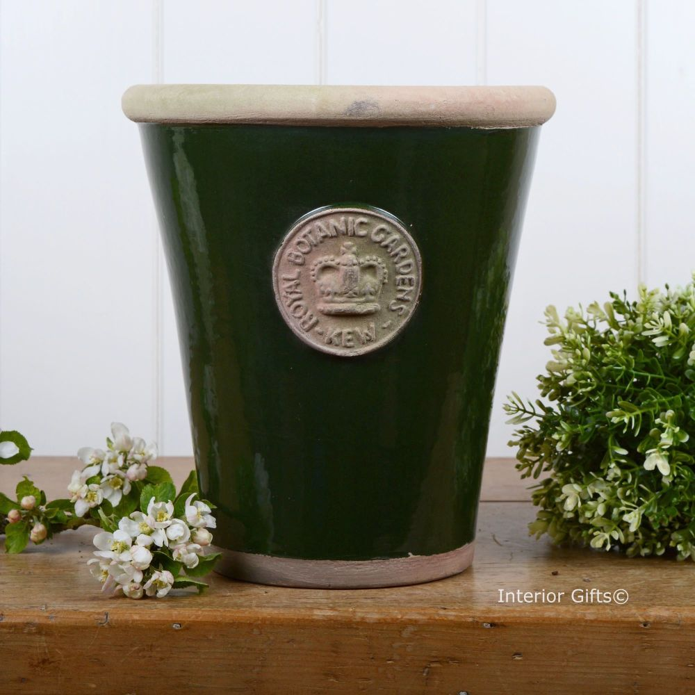 Kew Long Tom Pot in Dark Country Green - Royal Botanic Gardens Plant Pot -