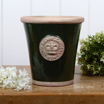 Kew Long Tom Pot in Country Green - Royal Botanic Gardens Plant Pot - Medium
