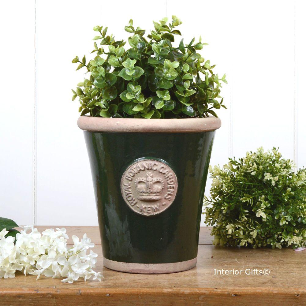Kew Long Tom Pot in Dark Country Green - Royal Botanic Gardens Plant Pot -