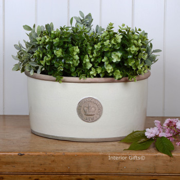 Kew Oval Planter in Ivory Cream - Royal Botanic Gardens Plant Pot - Large