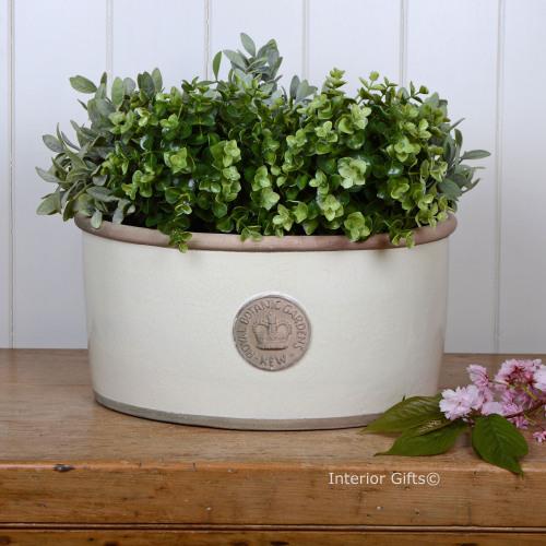 Kew Oval Planter in Ivory Cream - Royal Botanic Gardens Plant Pot - Large