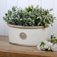 Kew Oval Planter in Ivory Cream - Royal Botanic Gardens Plant Pot - Medium