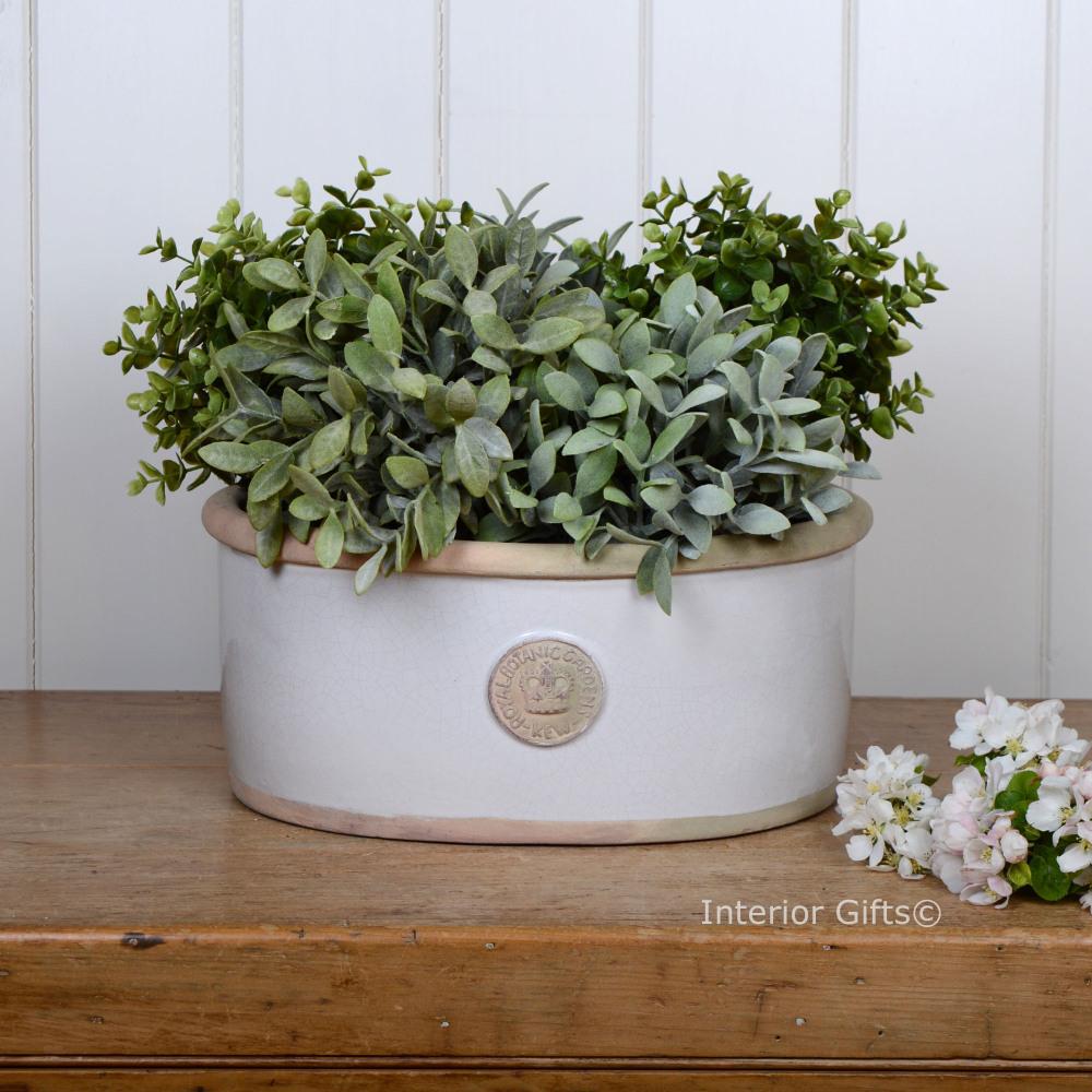 Kew Oval Planter in Bone - Royal Botanic Gardens Plant Pot - Medium