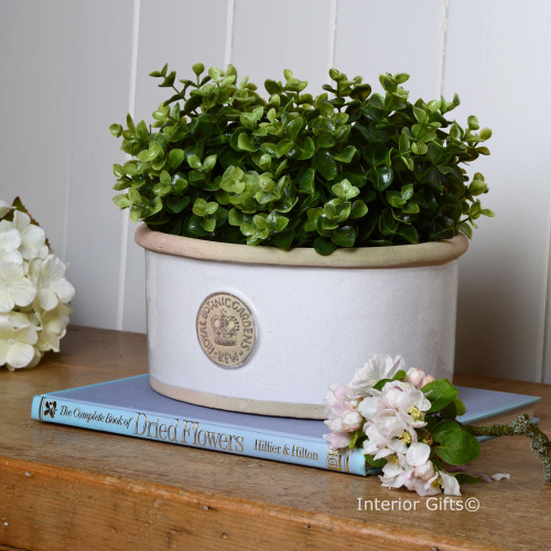 Kew Oval Planter in Bone White - Royal Botanic Gardens Plant Pot - Small