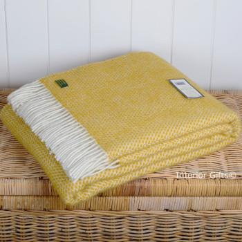 Tweedmill Lemon Yellow and Cream Honeycomb Weave Pure New Wool Throw Blanket