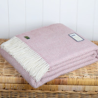 Tweedmill Dusky Pink & Cream Honeycomb Weave Pure New Wool Throw Blanket