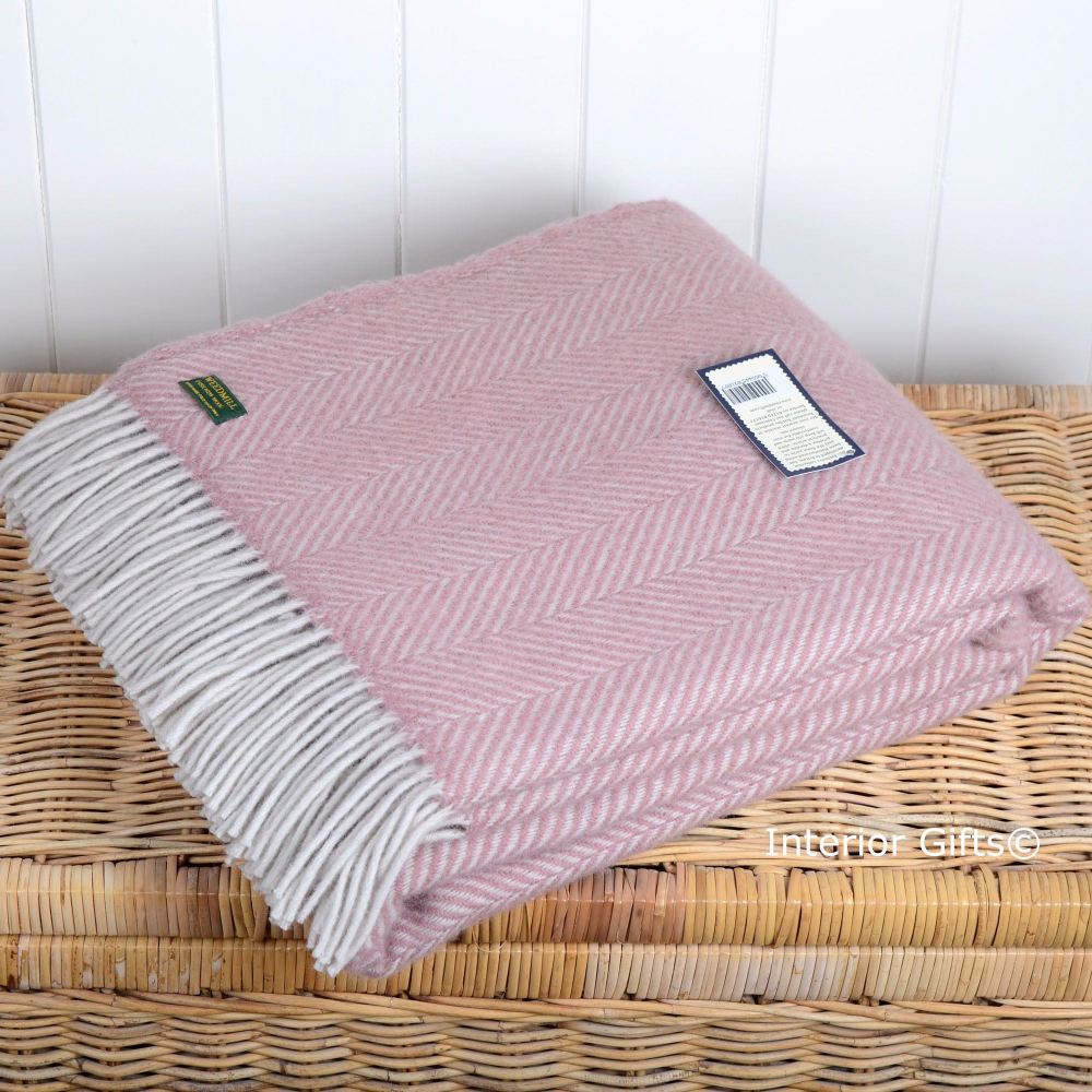 Tweedmill Dusky Pink & Pearl Fishbone / Herringbone Pure New Wool Throw