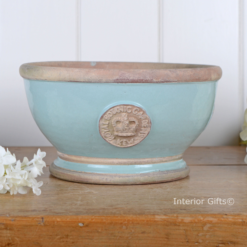 Kew Garden Footed Bowl Plant Pot Tiffany Blue Royal