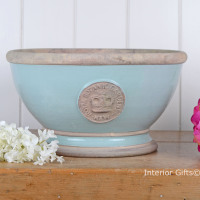 Kew Footed Bowl in Tiffany Blue - Royal Botanic Gardens Plant Pot - Large