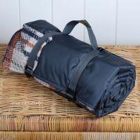 WATERPROOF Backed All Wool Eco-Friendly Picnic Rug / Blanket Multi Check Grey